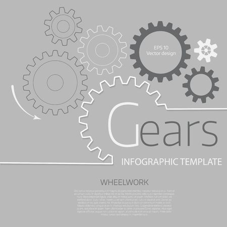 Vector infographic template with gears  on grey background. Business and industry concept with options, parts, steps, processes. Vettoriali