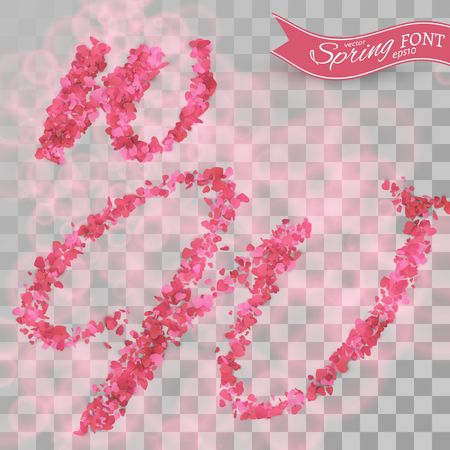Confetti font. Scattered  pink paper hearts. Letter W.  Isolated on transparent background. Illustration