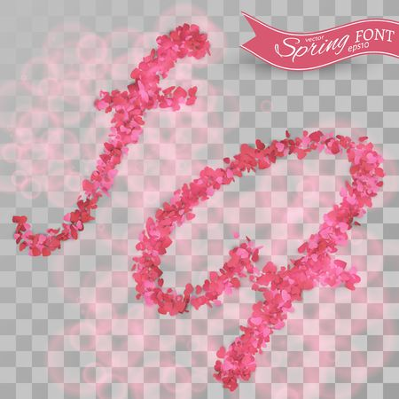 Confetti font illustration. Scattered pink paper hearts. Letter F on transparent background.