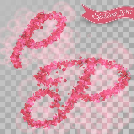 Confetti font. Scattered  pink paper hearts. Letter P.  Isolated on transparent background.