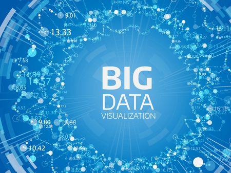 Wizualizacja Big Data. Futurystyczne tło wektor. Skomplikowana grafika wątków danych. Reprezentacja sieci społecznościowej lub analityki biznesowej Ilustracje wektorowe