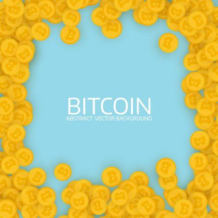Scattered gold bitcoins. Flat design. Golden frame. Infographic template. Abstract vector background Illustration