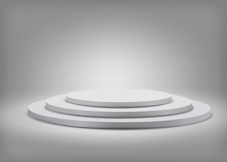 Tree step gray round podium on grey  background. Vector  template for your design.