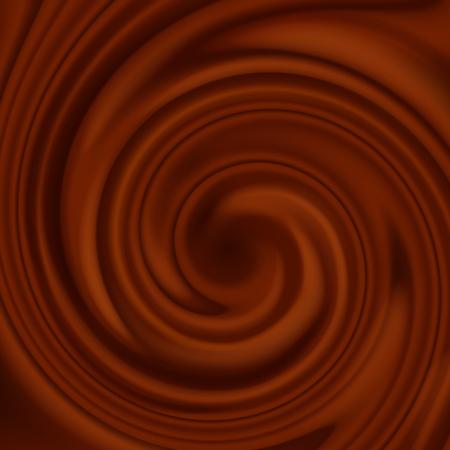 Flux de chocolat liquide en plein écran comme arrière-plan. Fond abstrait tourbillon au chocolat.