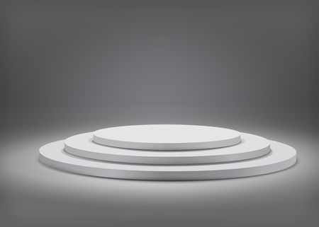 Tree step gray round podium on  grey background. Vector  template for your design. 일러스트