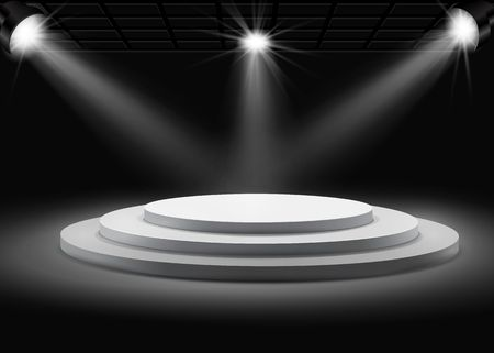 Tree step gray round podium with spotlights on black background.Vector  template for your design.