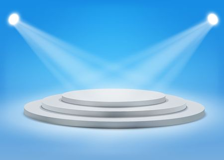 Tree step gray round podium with spotlights on blue background.Vector  template for your design.