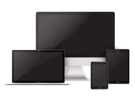 Electronic gadgets, isolated, on white background. Computer monitor, laptop, tablet and mobile phone. Realistic vector mock up. Illustration