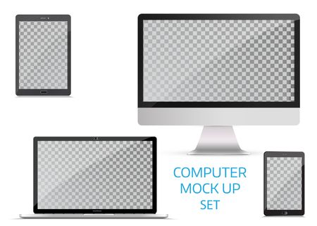Electronic gadgets, isolated, on white background. Computer monitor, laptop, tablet and mobile phone. Realistic vector mock up. Ilustrace