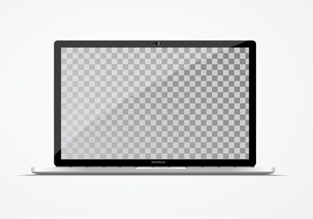 Modern ultra thin laptop. Computer vector mockup isolated on white.  Empty screen. Place for your information. Illustration
