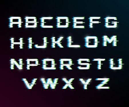 Fuente distorsionada de falla de vector. Tipografía de letras de estilo moderno. Letras latinas de la A a la Z. canales azules y verdes. Efecto de brillo. Ilustración de vector