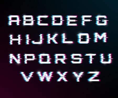 Fuente distorsionada de falla de vector. Tipografía de letras de estilo moderno. Letras latinas de la A a la Z. canales azul y rojo. Efecto de brillo.