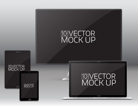 Electronic gadgets, isolated, on grey background. Computer monitor, laptop, tablet and mobile phone. Realistic vector mock up.