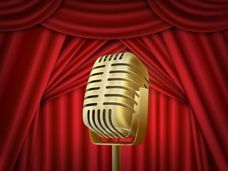Vintage metal microphone. Red silk curtain backdrop. Retro mic on empty theatre stage. Illustration