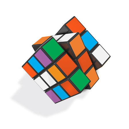 Editorial realistic vector illustration of toy cube.