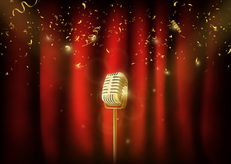 Vintage gold metal microphone. Red curtain background  vector illustration.
