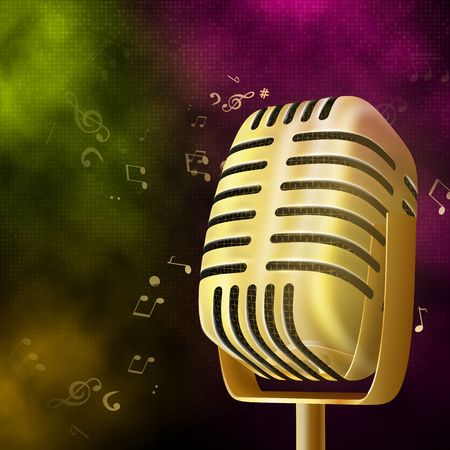 Karaoke party background with gold retro microphone.