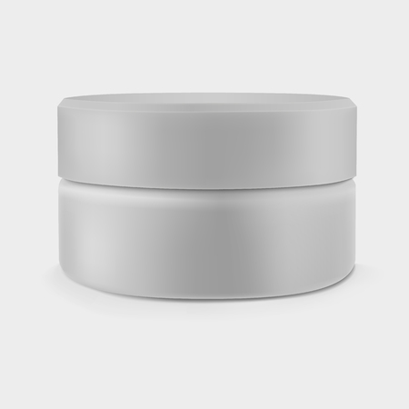 Isolated closed gray cream jar.