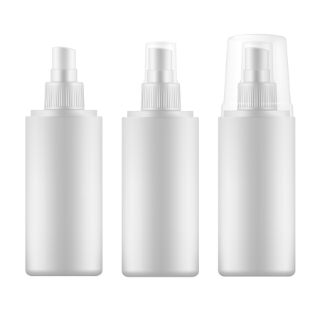 Set of white blank spray bottles with transparent cap.