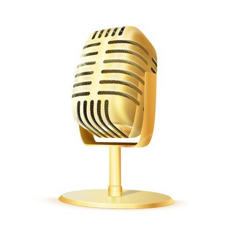 Vintage golden studio microphone. Illustration