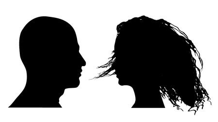 Vector illustration of male and female faces