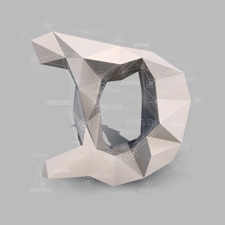 Capital latin letter D in low poly style. Abstract virtual transparent network with data. Virtual object vector concept