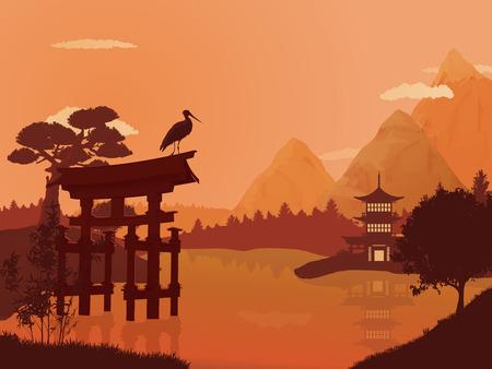 Traditional Japanese landscape.  イラスト・ベクター素材