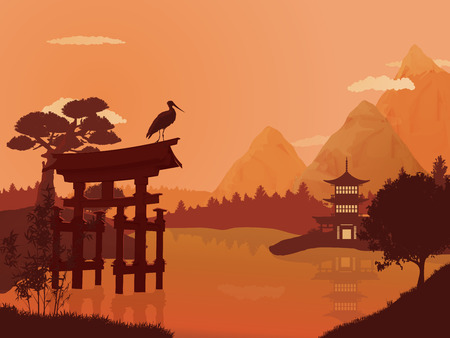 Traditional Japanese landscape. Ilustrace