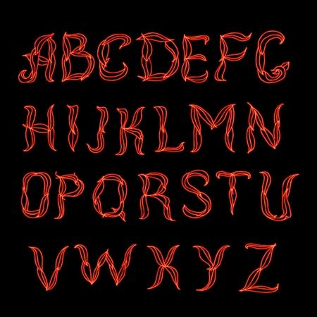 Abstract  red plexus neon font. Illustration