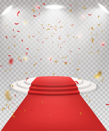 Abstract festive background with 3d three-step podium and red carpet. Spotlights and falling golden confetti. Ceremony of awarding the champion. concept of the winner.