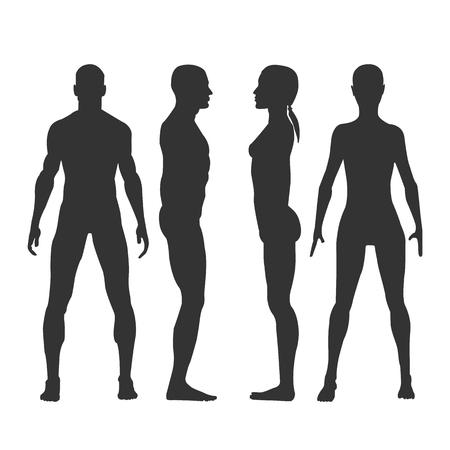 Sagome nere di vettore di uomo e donna nella vista frontale e laterale. Volto e profilo umano. Isolato su sfondo bianco.