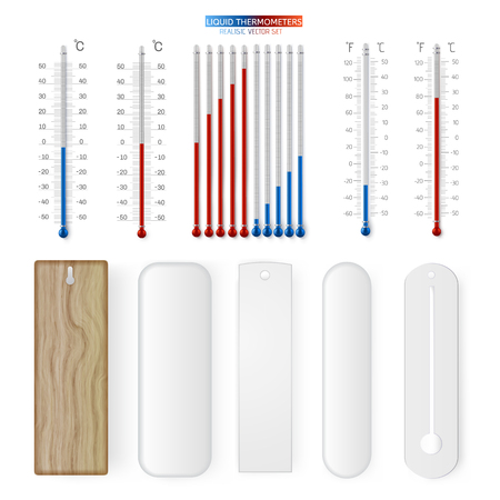 Meteorology indoor thermometer realistic vector mockup set. Temperature scale instrument, thermometer for weather