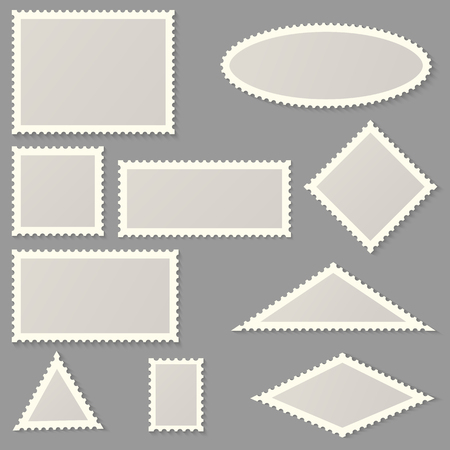 Postage stamps of various shapes and sizes Ilustrace