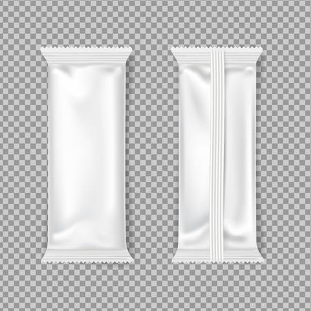 verpakking van witte chocoladerepen. Vector mockup. boven- en achterkant. Vector Illustratie