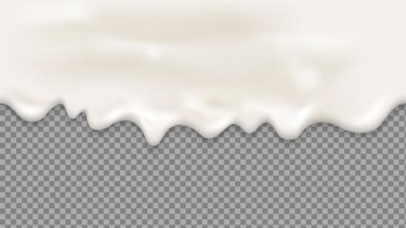 Dripping white cream or yoghurt drops. Realistic vector seamless illustration.milk splash or ice cream Flow soft texture on transparent background for sweet dessert design.