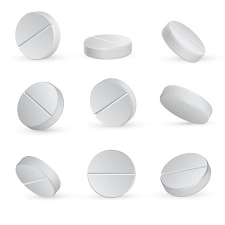 Runde weiße medizinische Pillen in verschiedenen Positionen