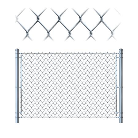 Cerca de alambre de metal realista. malla metálica en aislado sobre fondo blanco.