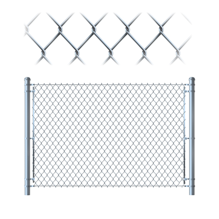 Realistischer Metallkettengliedzaun. Metallgitter auf isoliert auf weißem Hintergrund.
