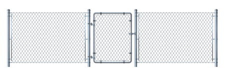 Realistic metal wire fence and gate   detailed illustration isol