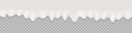 Nahtloses Muster. Milchspritzerhintergrund. Flüssige Sahne Textur der Milch. Malen Sie tropfende Vektorillustration. Nahtlose Grenze. Süßigkeiten essen.