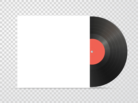 Classic design template with vinyl and Cover Mockup on checkered