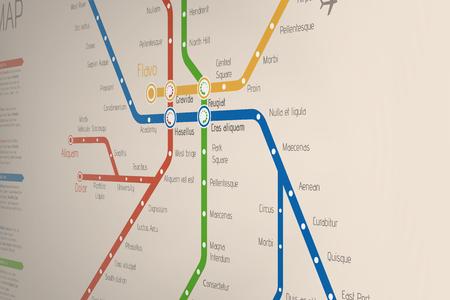 Abstract  metro or subway map design template. Ilustração