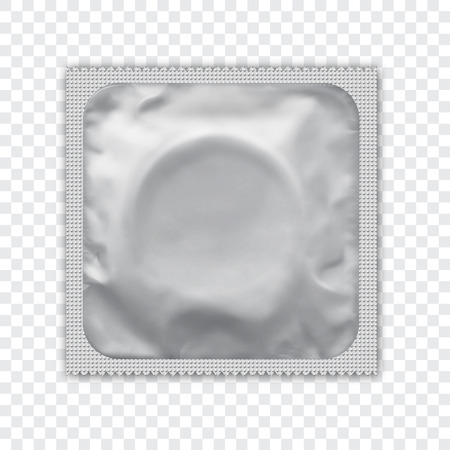 White  foil wrapped condom realistic vector packadge mock up. Re