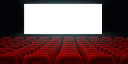 Cinema Hall With White Blank Screen And Red Rows Cinema Movie Theater Seats.
