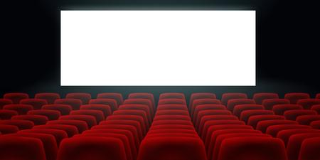 Sala de cine con pantalla en blanco en blanco y asientos de cine de cine de filas rojas.