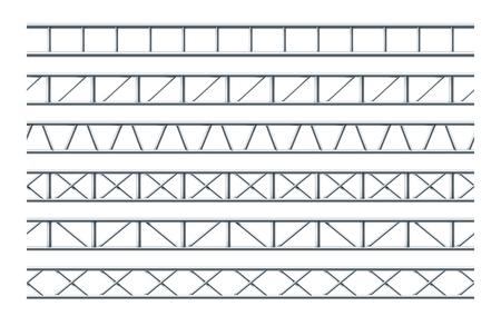 Stalowy dźwigar kratownicy Realistyczny wzór do projektowania reklamy zewnętrznej i znaków drogowych. Wektor wzór ramki. Konstrukcja ze stali niebieskiej dźwigara kratownicy. Ilustracje wektorowe