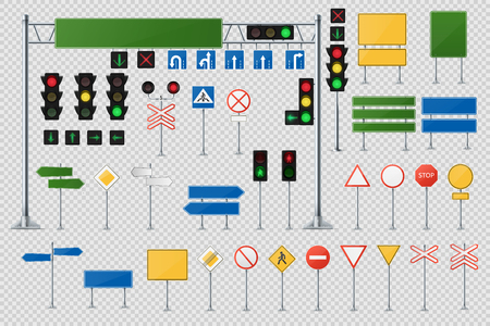 Big Realistic Set Of Road Signs And Traffic Lights And Semaphores. Vettoriali