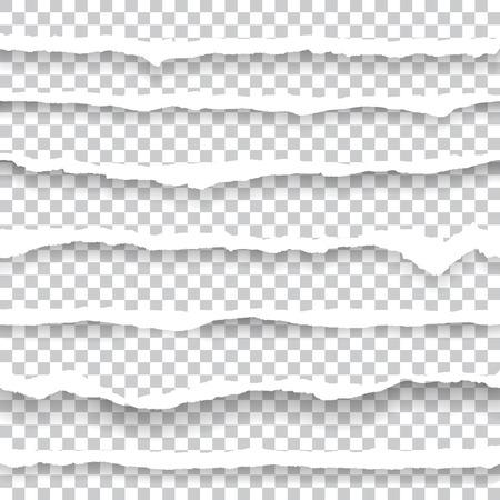 Bordi di carta strappati senza soluzione di continuità orizzontalmente. Illustrazione del taglio della carta. Vettoriali