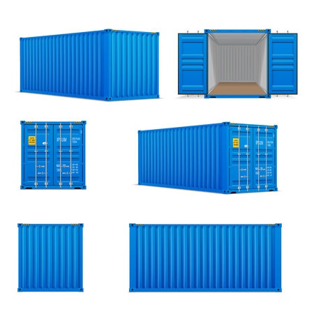 Realistic set of bright blue  cargo containers.   Front, side back and perspective view.  Open and closed. Delivery, transportation, shipping freight transportatio Stock Illustratie