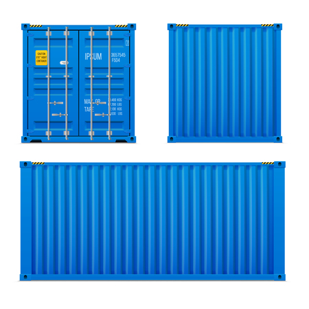 Realistic bright blue cargo container set. The concept of transportation. Closed container. Front, back and side. Realistic vectors set on white background.